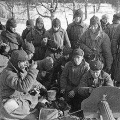 Красные солдаты в Зимнюю войну.