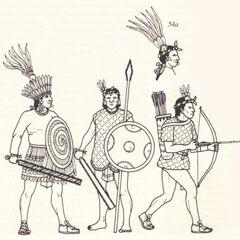 Слева-направо: Воин без доспех, Мечник, <a href=