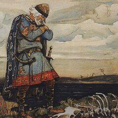 Олег над скелетом свего коня.