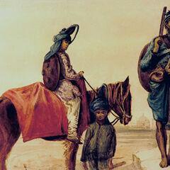 Изображение Акали с женой и ребенком, 1763 г.