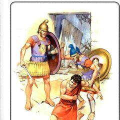 Слева-направо:<br /> 1. Педзетайр <br />2. Греческий наемник на персидской службе <br />3. Офицер педзетайров.