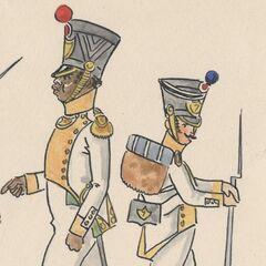 Офицер (слева) и фузилер 7-го линейного полка в Данцинге, 1812 г.