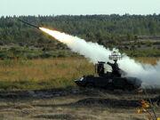 Пуск ракеты ЗРК Оса на полигоне Доманово (Беларусь)