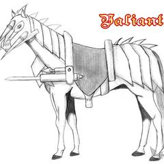 Лошадь Артура в доспехах и с пусковой установкой.