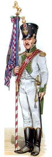 Младший лейтенант — знаменосец 5 линейного полка неаполь, 1811-14