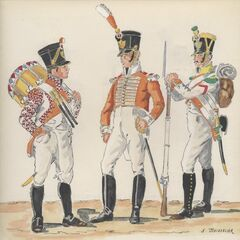 5-й линейный полк, 1811 - 1812 гг. Слева-направо: барабанщик фузилер, музыкант и вольтижер.