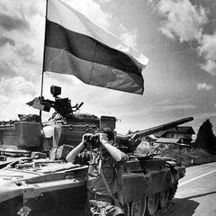 Трзин, 27 июня 1991. Словенец у захваченного танка <a href=