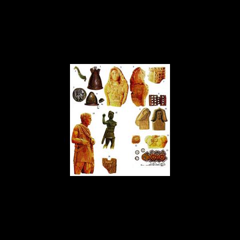 1 — бронзовый кельтский конический шлем из Апулии. Украшения на шлеме кельтские, но общий стиль — апулийский. В Италии было обнаружено несколько шлемов с вырезанными из тонкой листовой бронзы деталями, напоминающими рога. Музей Бари. 2 — рог с такого же шлема. Британский музей. 3 — монета из Франции, на которой изображен кельт с намоченными в известке волосами. 4 — кельтский шлем типа негау из Альп. Он практически идентичен раннеиталийскому типу, за исключением гребневидного поперечного выступа. 4а — внутренняя часть нижнего края, на которой показано, как закреплялся подшлемник. 5, 6 — вид спереди и сзади на статую воина из Грезана, близ Нима на юге Франции. Эта статуя, которую можно датировать IV в. до н.э. — докельтская. На воине либо передняя и задняя нагрудные пластины, закрепленные ремешками, либо панцирь с декоративными элементами в форме этих пластин. Нимский музей. 7 — деталь поясной пряжки с рис. 5. 8 — поясная пряжка того же типа, что и у воина из Грезана, найденная в Алерии, на Корсике. Это не кельтский тип. 9, 10 — две головы в капюшонах из Сент-Анастази, Франция. Нимский музей. 11 — скульптурное изображение кольчуги с наплечной накидкой из Энтремонта, на юге Франции. Это традиционный кельтский тип. 12 — пряжка с подобного же изображения. 13 — часть кельтской кольчуги с застежкой, удерживавшей накидку. Из Киумешти в Румынии. Масштаб 1:2. А, В, С — три типа колечек, использовавшихся в киумештской кольчуге, подлинный размер. D — поперечный разрез застежки. 14 — статуя кельтского воина позднего времени из Вашера на юге Франции. Он облачен в кольчугу в италийском стиле. 15 — статуэтка кельта из северной Италии в кольчуге италийского типа. 16 — скульптурное изображение кольчуги из Пергама, Турция.