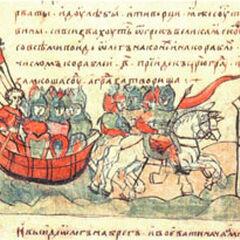 Олег Вещий ведёт войска к стенам Царьграда. Миниатюра из Радзивилловской летописи (начало XIII века).