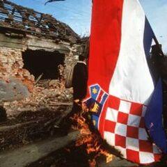 Вуковар взят! Сожжение флага Хорватии, ноябрь 1991 года.