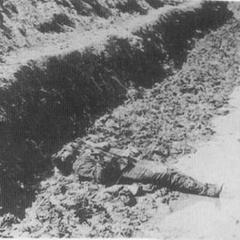 Мертвый конфедерат лежит под весенним дождем в Петерсбурге, апрель 1865 г. Захваченные после атак пехоты полевые укрепления часто были покрыты телами, но в Петерсубрге большинство конфедератских редутов были заняты после небольшого символического сопротивления.