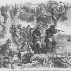 Конфедератские герильярос (партизаны) обстреливают союзные пароходы на Миссисипи. <a class=