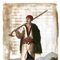 Житель Черногории, 1-я четверть XIX века. Акварель опубликована в монографии Жака Людовика Виаллы