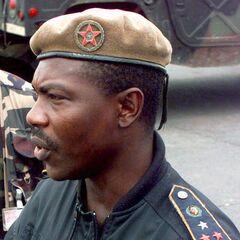 Офицер полиции (знаки различия армейские, а принадлежность к полиции определяется бежевым беретом).