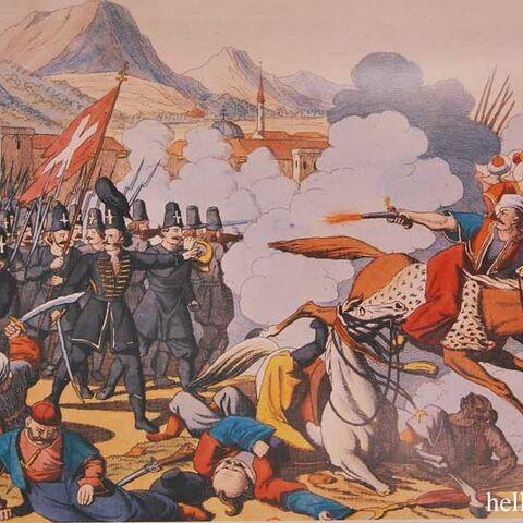 Битва Священного отряда (слева) с <a class=