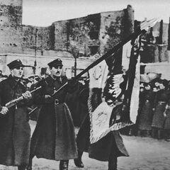 Солдаты 1-й армии на параде, 19 января 1945 года.