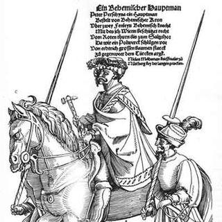 Капитан в сопровождении двух телохранителей с альшписами. Обращает внимание необычно большая длина наконечников, превышающая длину древка.