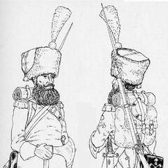 Саперы полков линейной пехоты, 1812 г. В зависимости от цвета приборного сукна, изображенные солдаты могут принадлежать к разным полкам.