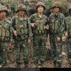Солдаты в камуфлированной униформе, пограничный с Вьетнамом конфликт 1984 года.