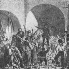 Баррикада возле университета 26 мая 1848 года.