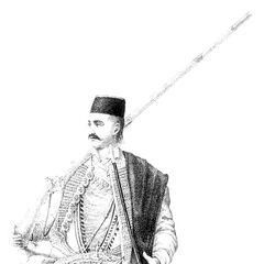 Черногорский воин, 1842 г. Гравюра из монографии