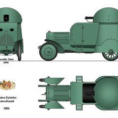 Общий вид бронеавтомобиля Austro-Daimler Panzerwagen, 1905 г.