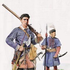 Стрелец и десятник выбранецкой пехоты, конец XVI века.