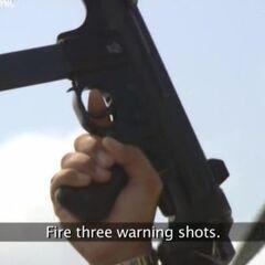 Три предупредительных выстрела в воздух.