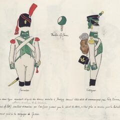 Униформа гренадера (слева) и вольтижера 5-го линейного полка.
