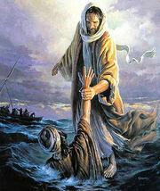 Иисус Христос спасает Петра