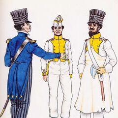 Офицер, фузилер и сапер 7-го линейного полка.