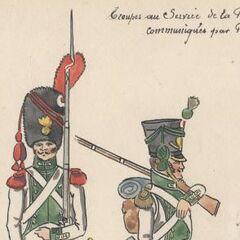 Грендер и вольтижер 5-го линейного полка в Данцинге, 1812 г.