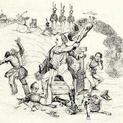 Аллегорический образ Германии, вооруженной дубиной. Карикатура Винклера, 1843 г.