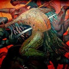 Воин-орел атакует конкистадора.