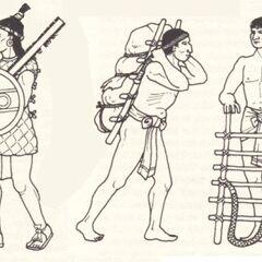 Слева-направо: Мечник, 2 носильщика.