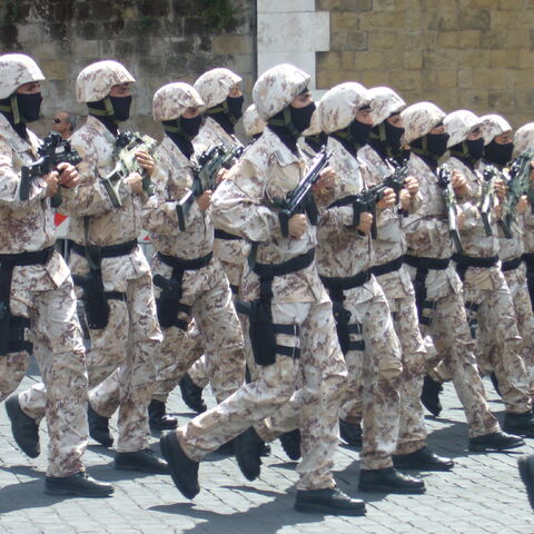 Бойцы ГИСа в форме, предназначенной для операций в пустыне.