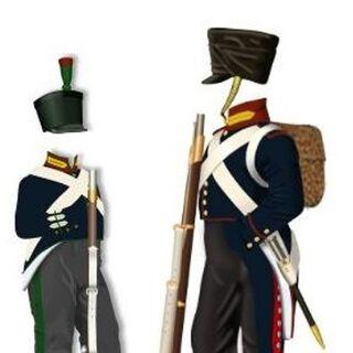 Униформа егеря (слева) и фузилера 7-го пехотного батальона.