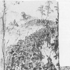 Рисунок Альфреда Р. Вауда изображает военнопленных конфедератов, марширующих в Фредерик, Мэриленд в августе 1863 г. Большинство из них носят шляпы разных типов, вместо предписанных кепи. У некоторых есть скатки из одеял с имуществом, большинство одеты в короткие мундиры, в то время как союзная охрана — в длинные.