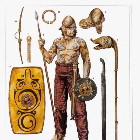 Каледонский воин (200 г. н.э.) и элементы вооружения пиктов: 2 - шлем; 3 - кулачный щит-баклер; 4, 4а - большой щит и его сечение; 5 - копье; 6, 6а - меч и ножны; 7 - деревяный меч; 8 - боевая труба-карникс; 9 - декоративная накладка; 10 - шейная гривна-торк.