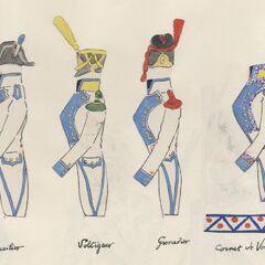 Форма 1-го линейного полка, слева-направо: фузилер, вольтижер, гренадер и трубач вольтижеров.