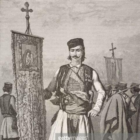 Вооруженный черногорский священник с церковным знаменем, 1876 или 1877 гг.
