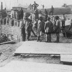 Укрепления конфедератов под Манассасом, сфотографированные в марте 1862 г. Распространенной ошибкой является то, что гражданская война показала устойчивый прогресс в развитии