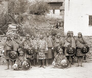 Sir Ugyen Wangchuk, with his bodyguards, Tongsa Dzong in Bhutan, 1905