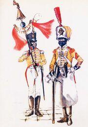 7 полк неаполь музыкант и сержант саперов в парадной форме, 1812
