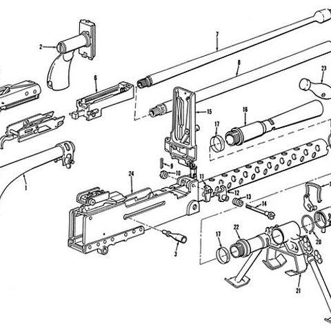 Схема разборки пулемёта.