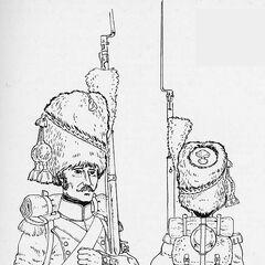 Гренадеры полков линейной пехоты, 1812 г. В зависимости от цвета приборного сукна, изображенные солдаты могут принадлежать к разным полкам.