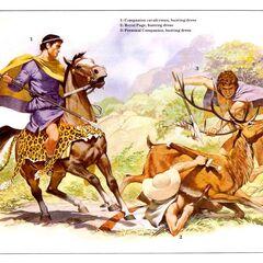 1. Кавалерист-гетайр (охотничья одежда); 2. Царский паж (охотничья одежда); 3. Личный телохранитель (охотничья одежда).