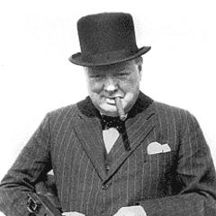 Уинстон Черчилль с автоматом Томпсона.