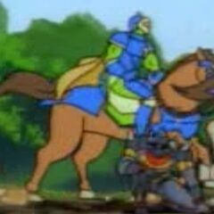 Зек в доспехах и на коне.