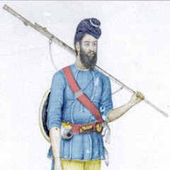 Местный рисунок Акали, датируемый 1833 г. На его обычный темно-синий тюрбан (дастар бунга), который нехарактерно изображен в очень скромных пропорциях, надет чакрам. Также на нем одета светло-синяя туника, бледно-желтые шорты и декорированные красные тапочки.